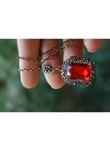 Stoneage Kırmızı Kristal El Yapımı Kolye ve Zincir Kırmızı